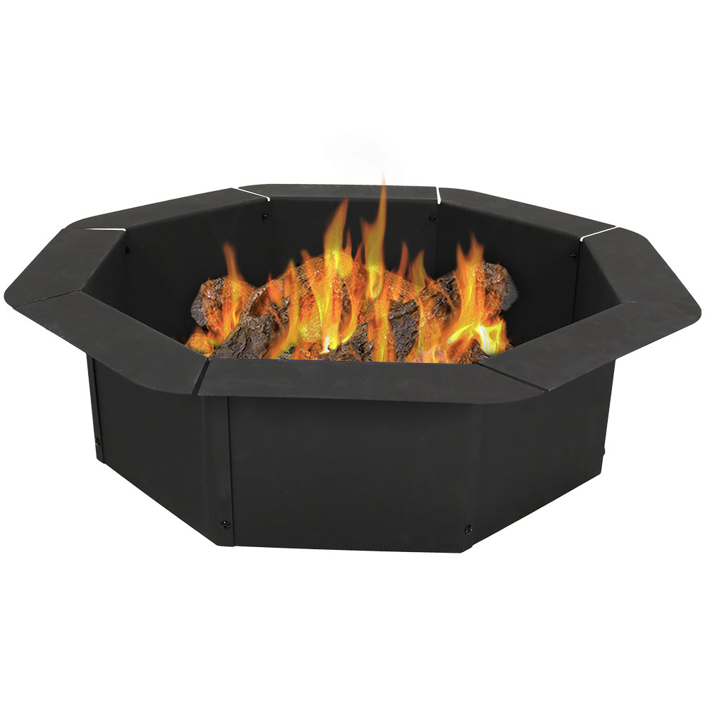 Sunnydaze Octagon Fire Ring Insert, DIY Fire Pit Rim Liner Above or In-Ground, Outdoor Heavy Duty 2.2mm Thick Steel, 38 Inch
