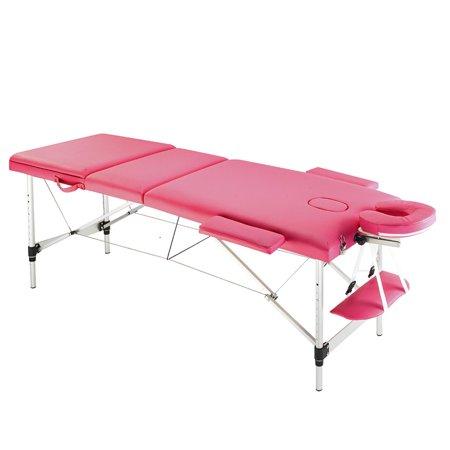 Aluminium 3 Section Massage Bed Portable Salon Foldable Beauty Body Facial Spa Tattoo Thai Massage Bed ()