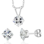 Beverly Hills Silver Sterling Silver Princess-cut April Cubic Zirconia Birthstone Stud Earrings and Necklace Set