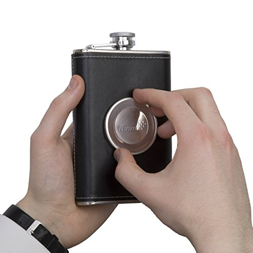 Ivation Stainless Steel & Genuine Leather Shot Flask 8oz. Hip Flask with Collapsible 2oz. Shot Glass - Bonus Funnel Included