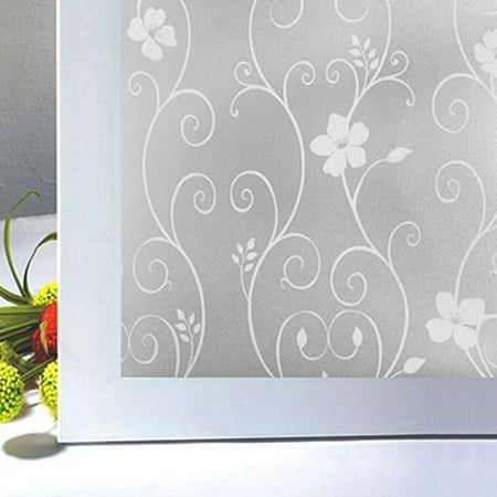 NK Window Glass Sticker Waterproof Frosted Privacy Home Bathroom Removable Decals Self Adhesive Film Wall Sticker White Wrought Iron Flower