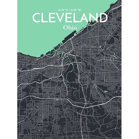 Ourposter Com Cleveland City Map Graphic Art Print Poster In Dream