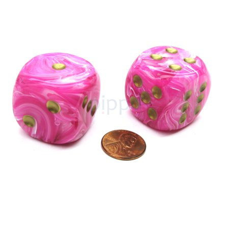 Chessex Vortex 30mm Large D6 Dice, 2 Pieces - Pink with Gold Pips #DV3014](Pink Dice For Car)