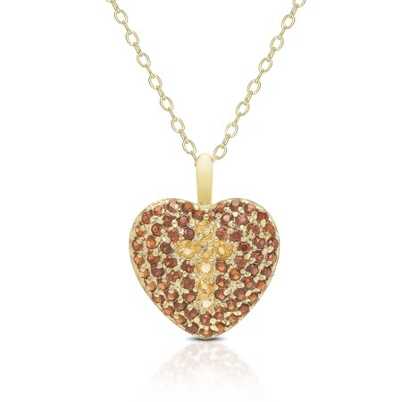 - Dolce Giavonna  Gold Over Sterling Silver Gemstone Heart Necklace With Cross