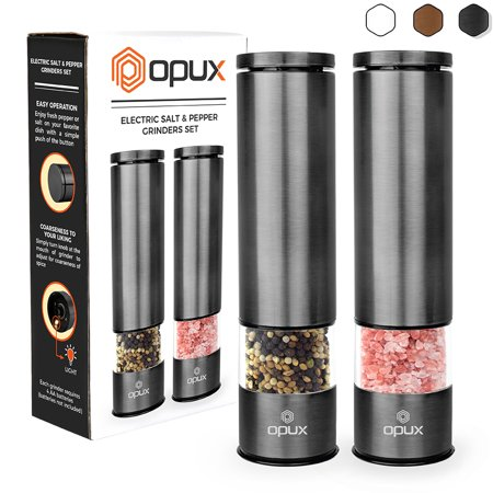 OPUX Battery Operated Salt and Pepper Grinder | Automatic Pepper Mill, Electric Salt Shaker with LED Light and Bottom Cover | Corrosion Resistant Stainless Steel, Sleek Modern Design