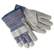 Select Shoulder Split Cow Gloves, Large, B Select Cowhide, Blue w/Red Stripes