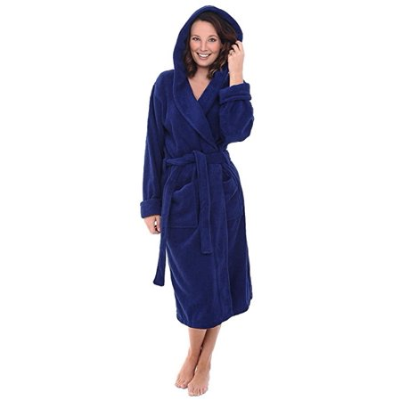Heavy Womens 3.5lb Royal Blue Hooded Terry Cloth Bathrobe. XXL Full Length 100% Turkish Cotton