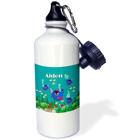 3dRose This vibrant artwork of Fish under the sea is personalized with the name Aiden, Sports Water Bottle, 21oz