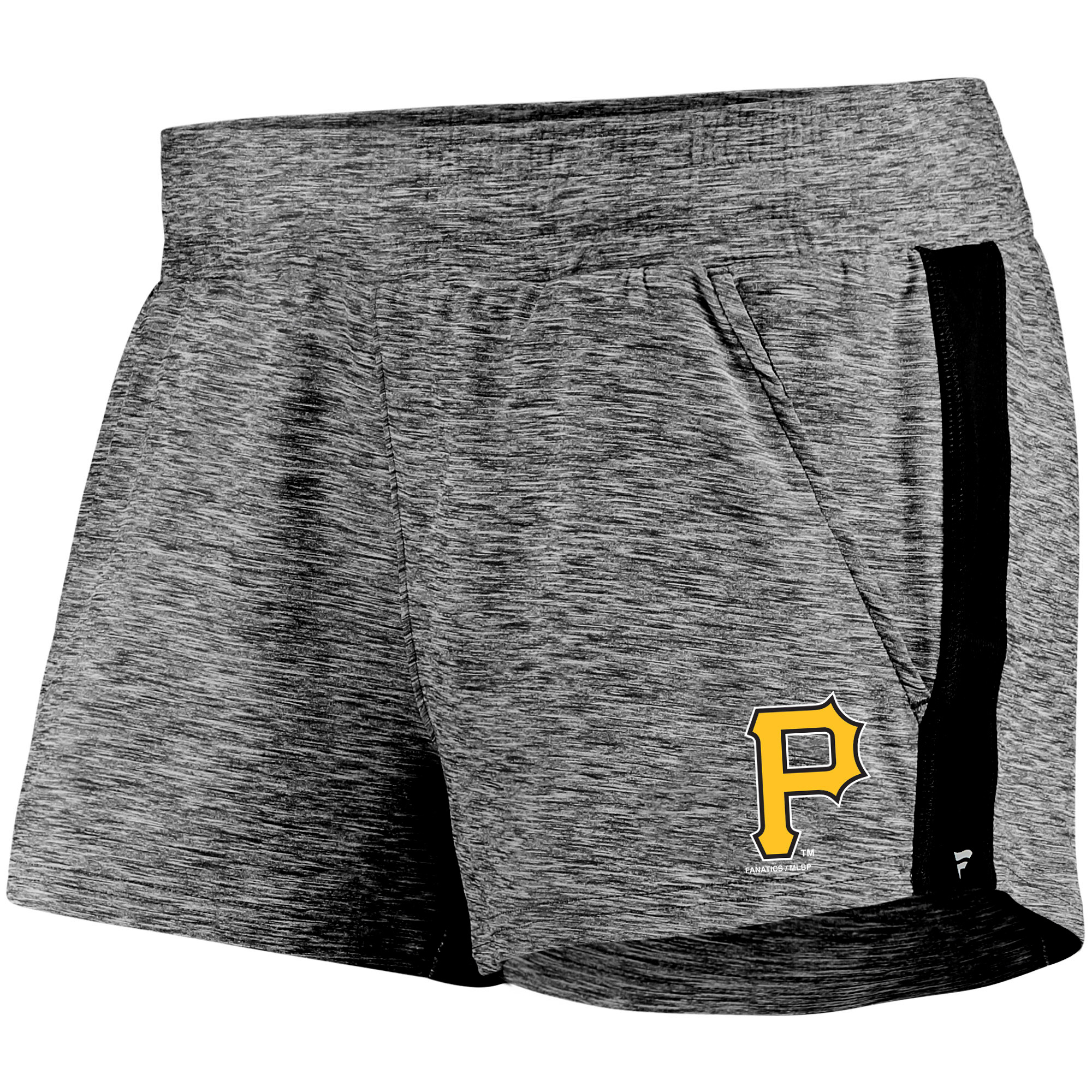 Pittsburgh Pirates Fanatics Branded Women's Made To Move Running Shorts - Heathered Gray/Black