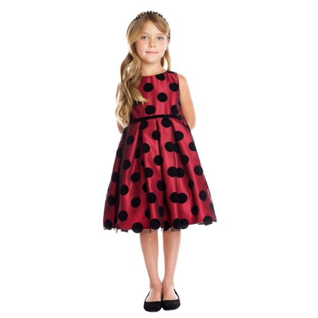 Flocked Dot Dress - Big Girls Red Black Polka Dot Flocked Mesh Christmas Dress 7-16