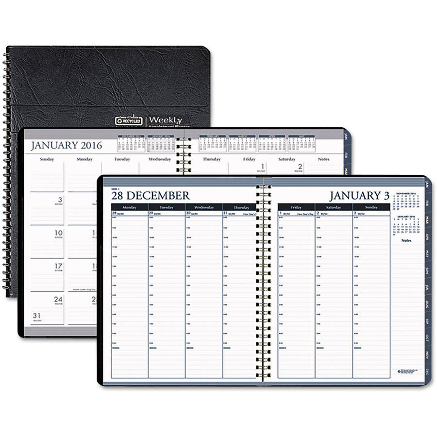 House of Doolittle Tabbed Wirebound Weekly/Monthly Planner - Julian - Weekly, Monthly, Daily - 1 Year - January 2017 til