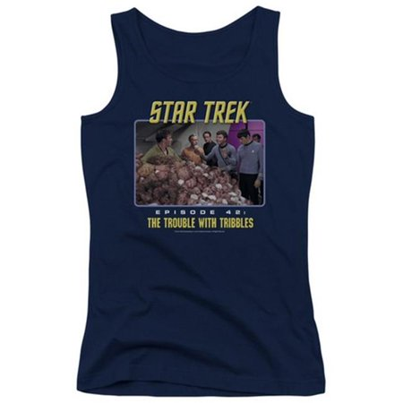 Trevco St Original The Trouble With Tribbles   Juniors Tank Top   Navy  Small