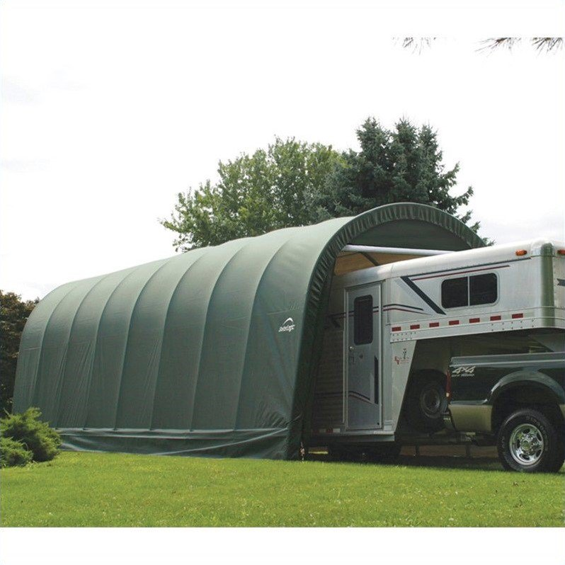 15' x 28' x 12' Round Style Shelter, Green