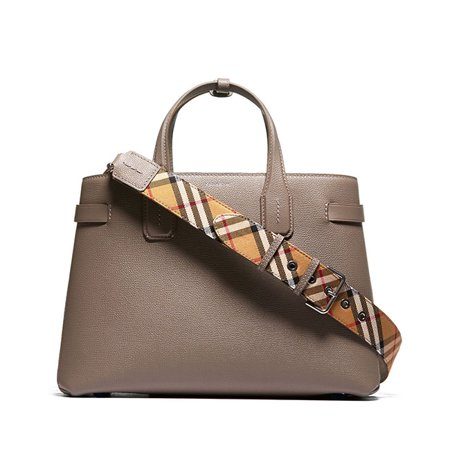 Burberry Women's Taupe Leather Vintage Check Tote Handbag