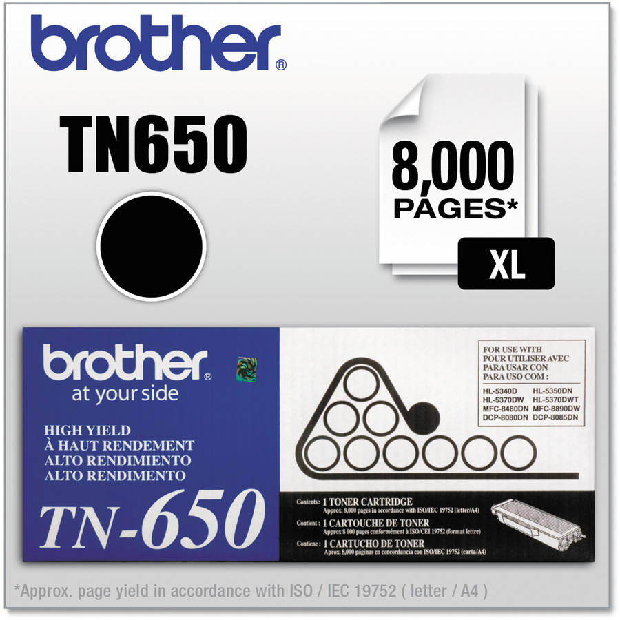 Brother TN650 High-Yield Toner, 8000 Page-Yield, Black