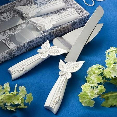 Butterfly design cake knife/server set, 12.5