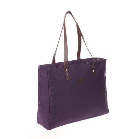 Designer Shopper Tote Diaper Bag in Plum, One front slip pocket, one back zip pocket, removable shoulder strap, handle strap, stroller strap on the exterior. By Bellotte - Exterior Zip Pocket