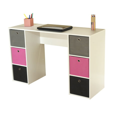 Kids Desk With Six Fabric Storage Bins Multiple Colors