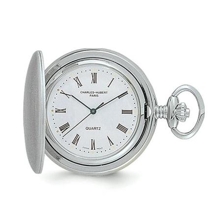 Charles Hubert Pocket Watch (Lex & Lu Charles Hubert Satin Chrome-finish Off White Dial Pocket Watch XWA549)