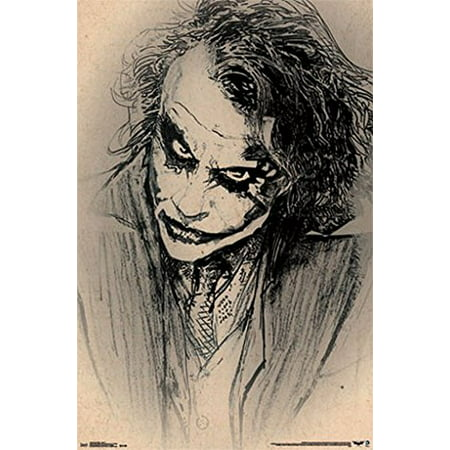 Batman Dark Knight Joker Poster Amazing Sketch - Heath Ledger New 22x34 - Heath Ledger Joker Wig