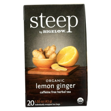(3 Pack) Bigelow Steep Organic Herbal Tea, Lemon Ginger, 20 (Organic Goodnight Herbal Tea)