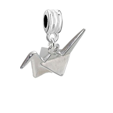 SEXY SPARKLES 3D Origami Bird Paper Crane Flapping Bird Dangling Charm Spacer Bead compatible with European Charm Bracelets ()