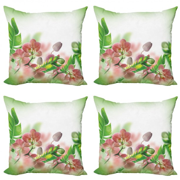 Tropical Throw Pillow Cushion Case Pack Of 4 Tropical Orchids Branch Stem Petal Leaf Bud Spring Blooming Flowers Print Modern Accent Double Sided Print 4 Sizes Peach And Green By Ambesonne Walmart Com