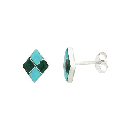 Sterling Silver Handcrafted Blue Turquoise Diamond-shaped Stud Earrings (Genuine Zuni Tribe American Indian Jewelry) 3/8 in. (10 mm) (Handcrafted Old Indian Jewelry)