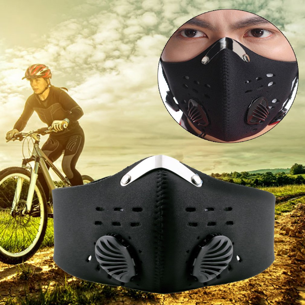 Fitness Dust Mask with Earloop Adjustable Velcro and Activated Carbon Filter For Sport Training House Cleaning Gardening (Black)