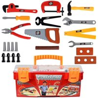 WolVolk Toy Tool Box Set With Removal Tool Tray, 26 Pieces