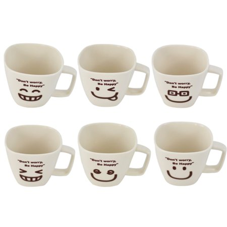 Don't Worry, Be Happy Man Ceramic Tea Cup Face, Set of 6 - Painted Tea Cup