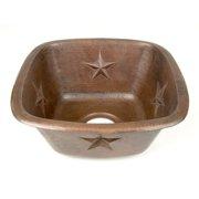 D'Vontz Copper 15'' L x 15'' W x 7'' Square Texas Star Embossed Bar Sink