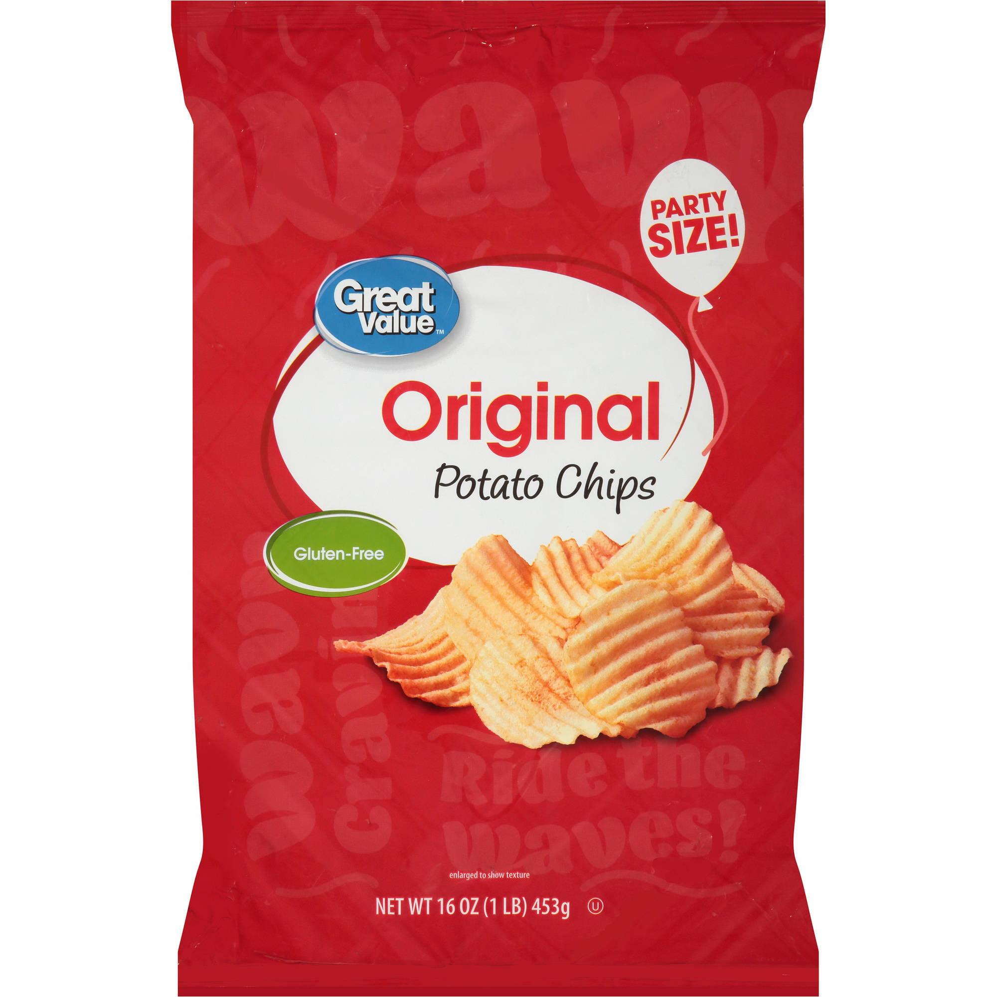Great Value Wavy Potato Chips, 16 oz