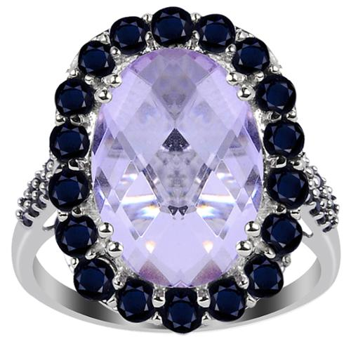 Orchid Jewelry 925 Sterling Silver 6 3/4ct Genuine Pink Amethyst, Sapphire, and Spinel Ring 7-Silver Plated
