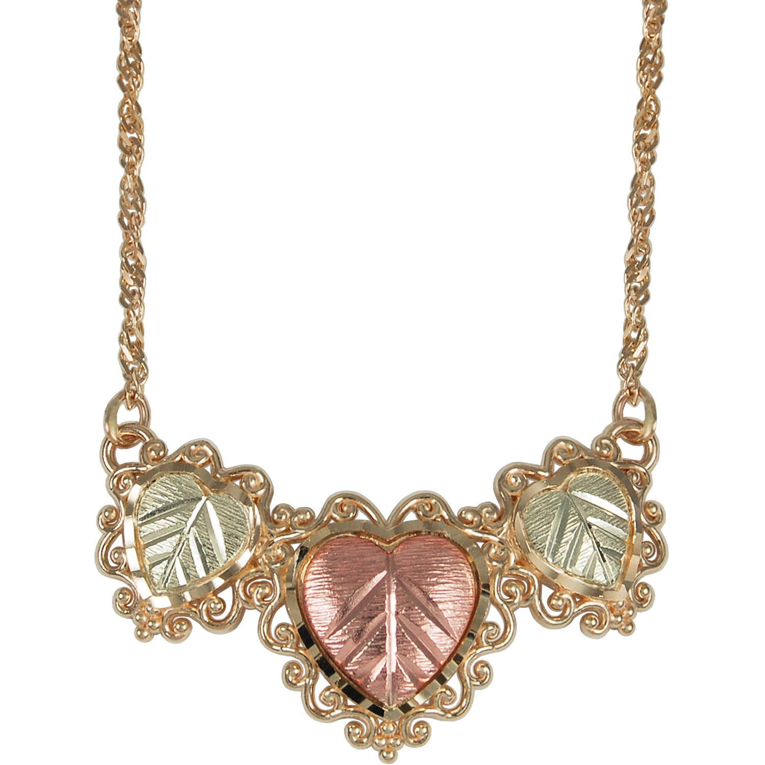 Black Hills Gold 10kt Yellow Gold with 12kt Gold Leaf Accents Triple Heart Necklace, 17.75""