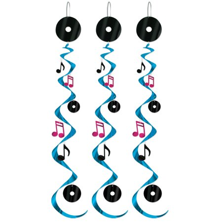 Club Pack of 18 Black and Blue Rock & Roll Music Whirl Decorations 30