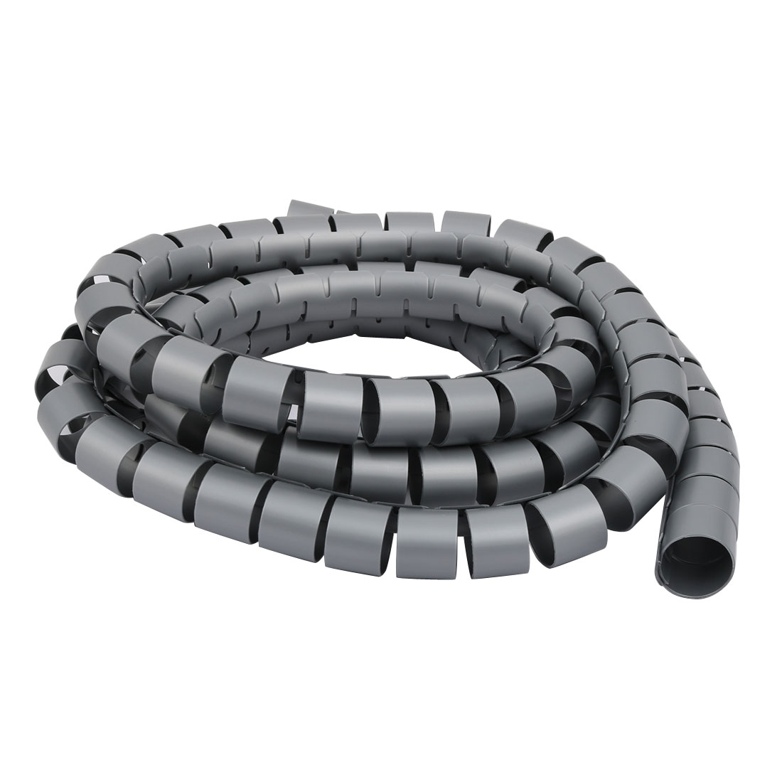 Unique Bargains Flexible Spiral Tube Cable Wire Wrap Gray 30mm Dia x 2.5 Meter Long with Clip