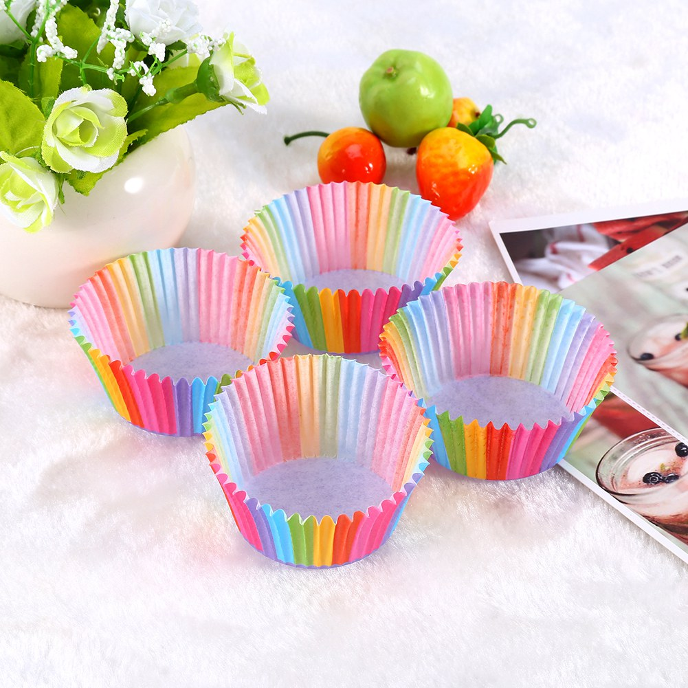 100 pcs Rainbow Color Cupcake Liner Cupcake Paper Baking Cup Muffin Cases Cake Mold, Cake Mold, Cupcake Liner by