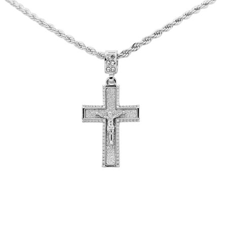 14K White Gold Plated Hip Hop Bling Stardust Beaded Edge Crucified Jesus Cross With 3mm 24