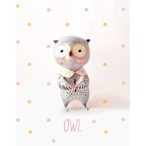 Oopsy Daisy - Paper Mache - Owl - Girl Canvas Wall Art 14x18, Paola Zakimi