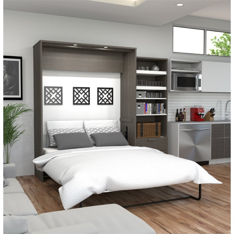 "Cielo by Bestar Premium 95"" Queen Wall Bed kit in Bark Gray and White"