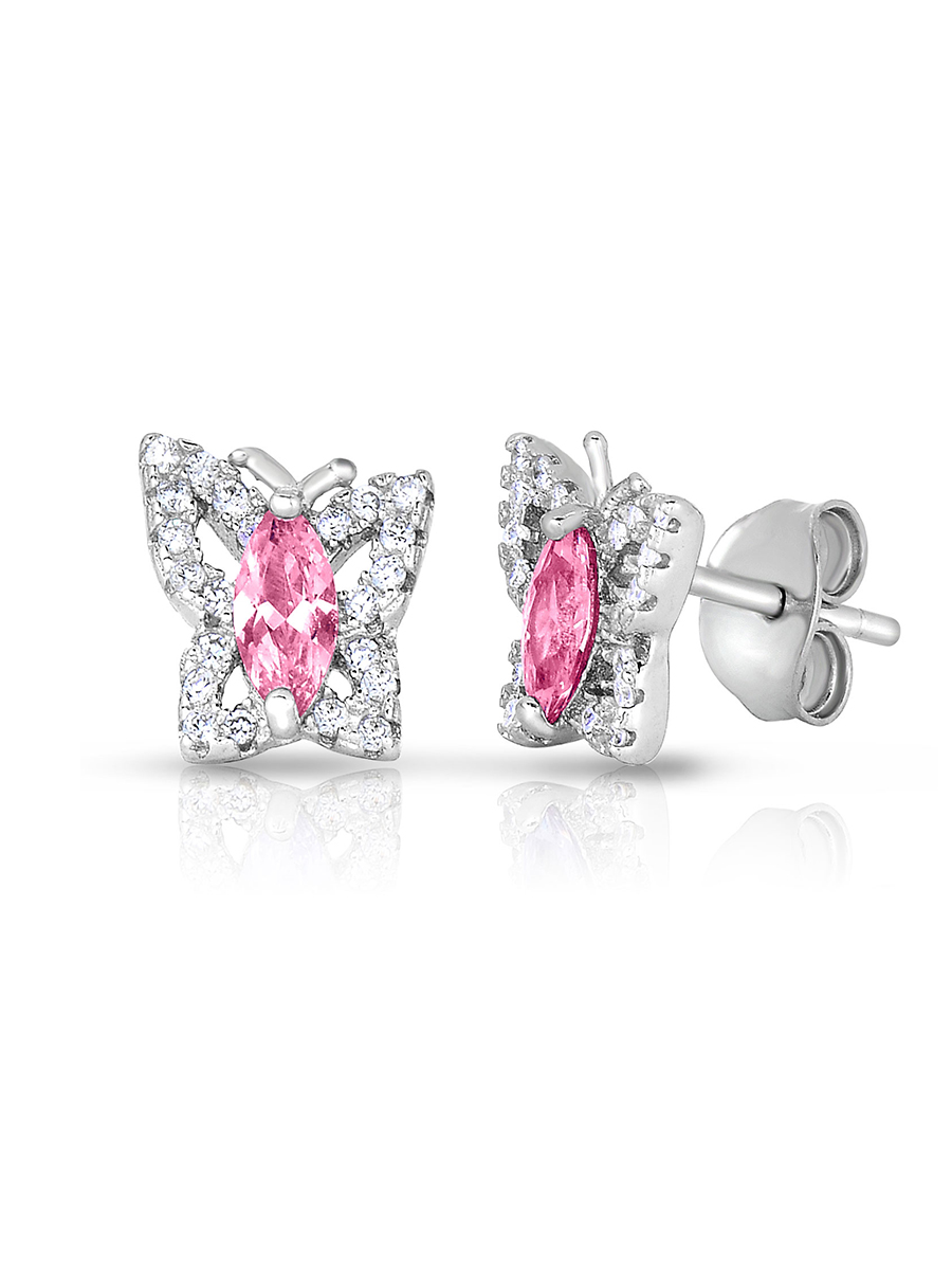 .925 Sterling Silver Simulated Birthstone Cubic Zirconia Butterfly Stud Earrings for Girls (October)