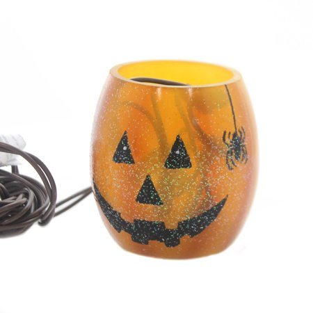 Stony Creek PUMPKIN LIGHTED GLASS JAR Glass Halloween Spider Hol7252 - Pumpkin Spiders