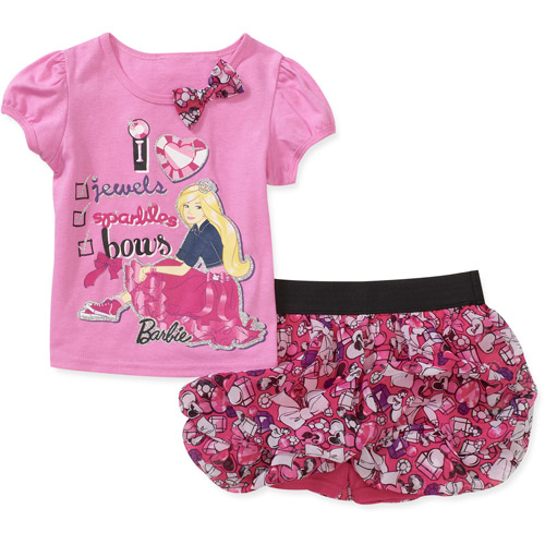 Barbie Baby Girls' 2-Piece Tee and Scooter Set