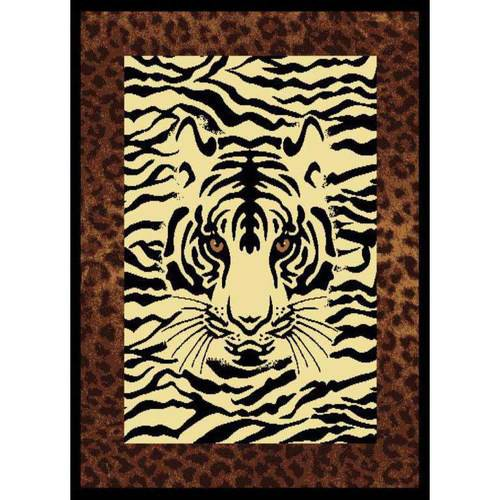 "United Weavers Elements White Tiger Woven Polypropylene Area Rug, White/Black, 5'3"" x 7'2"""