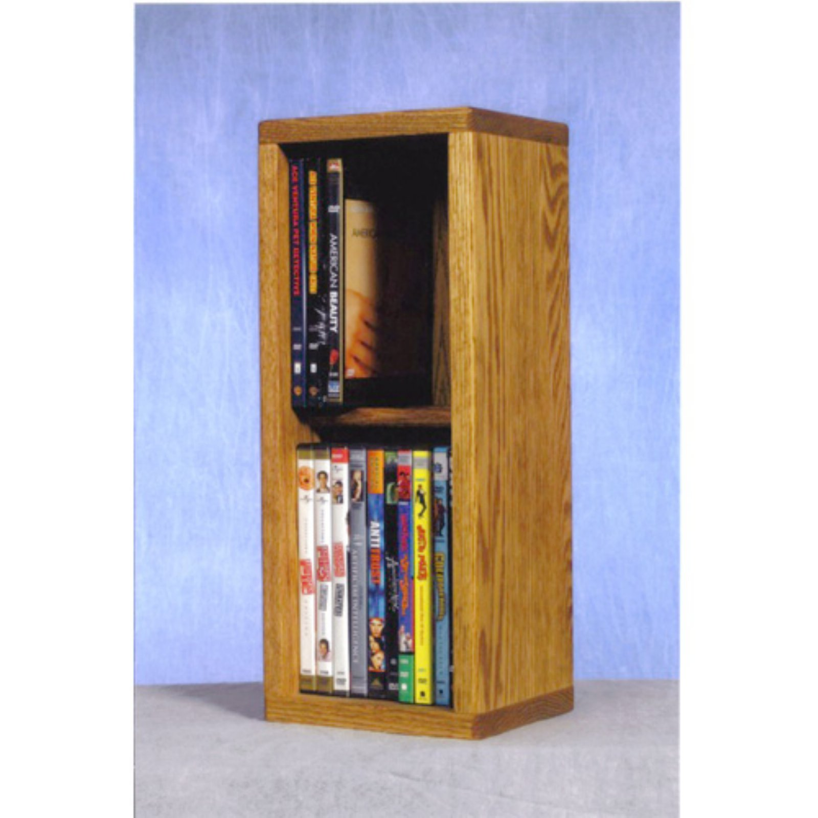 The Wood Shed Solid Oak 2 Row Dowel 20 DVD Media Rack