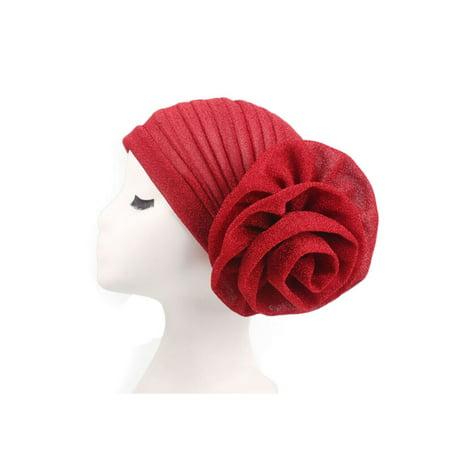 Womens Headband Elegant Flower Glitter Turban Hats Muslim Cap Head Wrap Headwear](Gold Feather Headband)