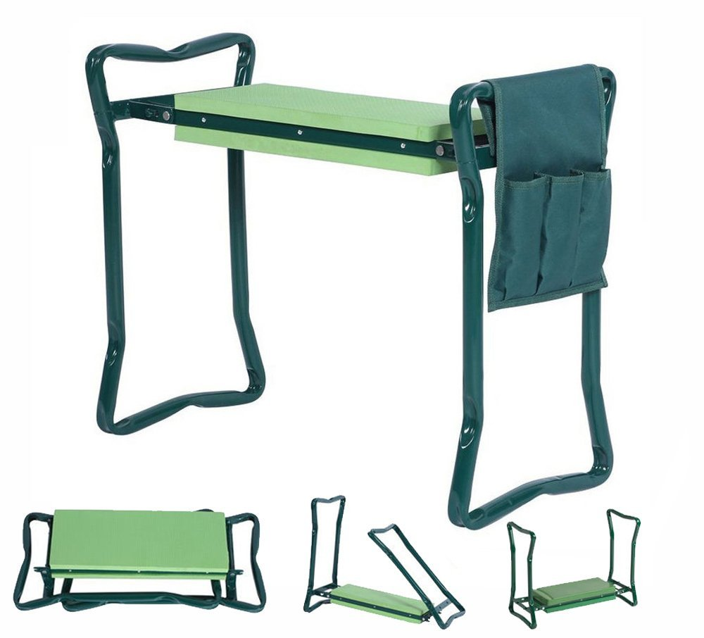 Soft Pad Protects Your Knees Outdoor Portable Kneeler for Gardening Seniors Garden Kneeler and Seat with Tool Pouches Bench Stools Foldable Stool with Free Tool Bag Pouch