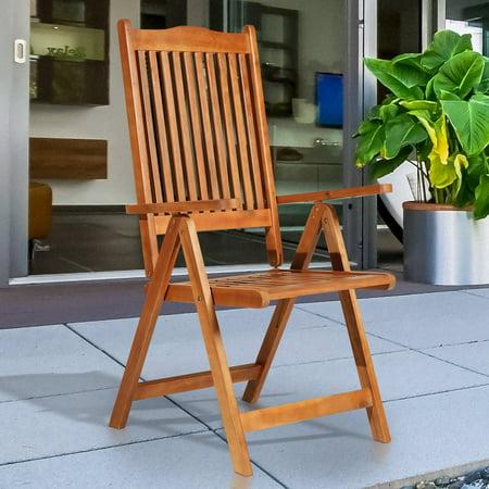 Acacia Wood Slat Adjustable 5 Position Folding Arm Chair