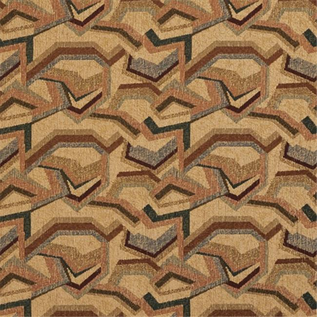 Designer Fabrics F853 54 in. Wide Green, Red, Blue And Bronze, Geometric Chenille Upholstery Fabric
